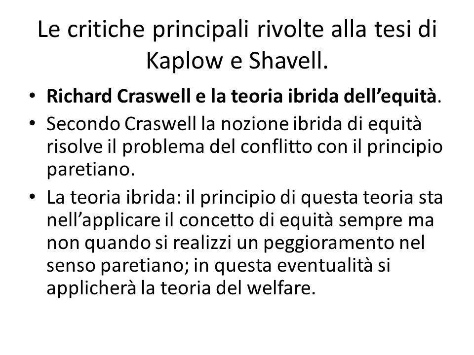 Le critiche principali rivolte alla tesi di Kaplow e Shavell. Richard Craswell e la teoria ibrida dellequità. Secondo Craswell la nozione ibrida di eq
