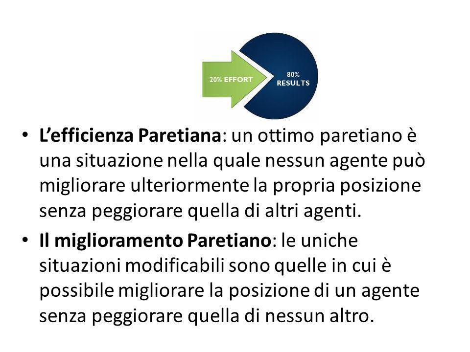 Lefficienza Paretiana: un ottimo paretiano è una situazione nella quale nessun agente può migliorare ulteriormente la propria posizione senza peggiora