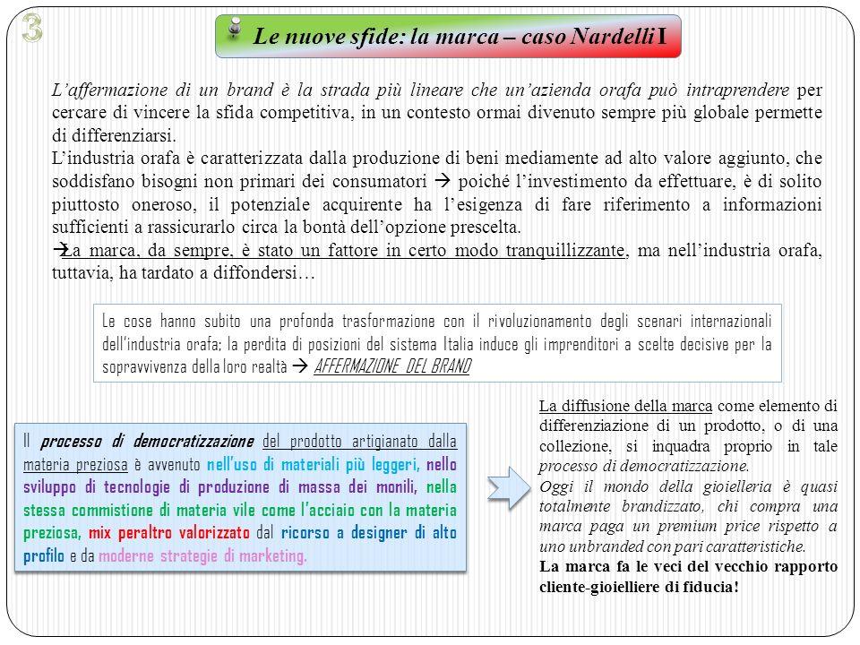 Le nuove sfide: la marca – caso Nardelli II Oggi sempre di più, si fanno strada aziende italiane, legate a una tradizione artigianale, che hanno raggiunto il successo soprattutto grazie alla scelta di affermarsi tramite politiche di branding.