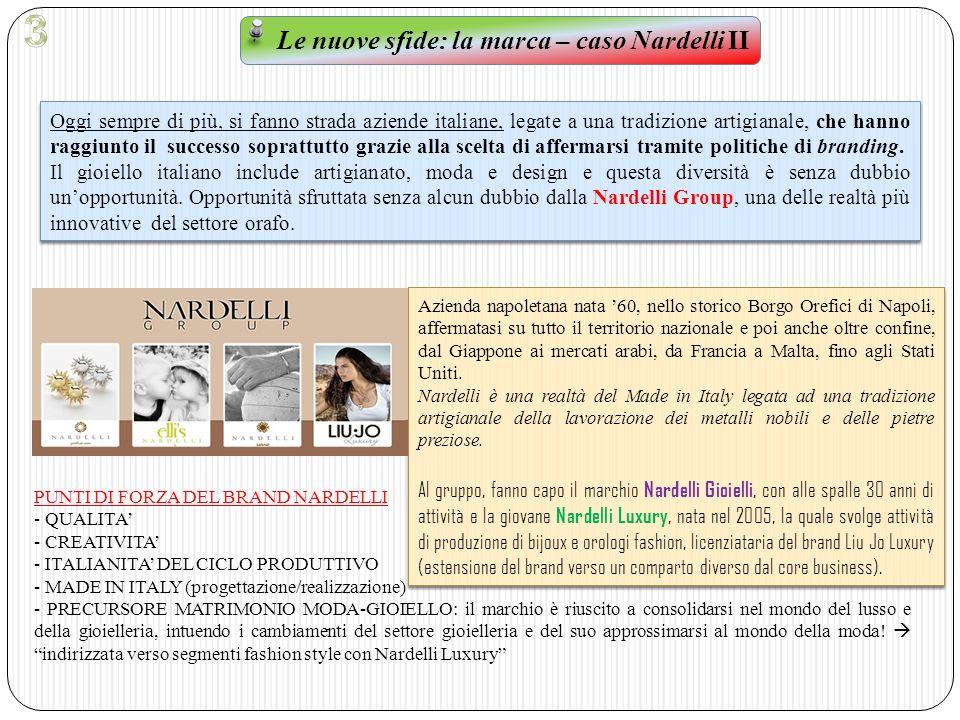 Le nuove sfide: la marca – caso Nardelli III Come abbiamo ampiamente trattato nel corso di questo studio, il mondo della falsificazione e della contraffazione, da sempre, è parte integrante anche del mondo della gioielleria.
