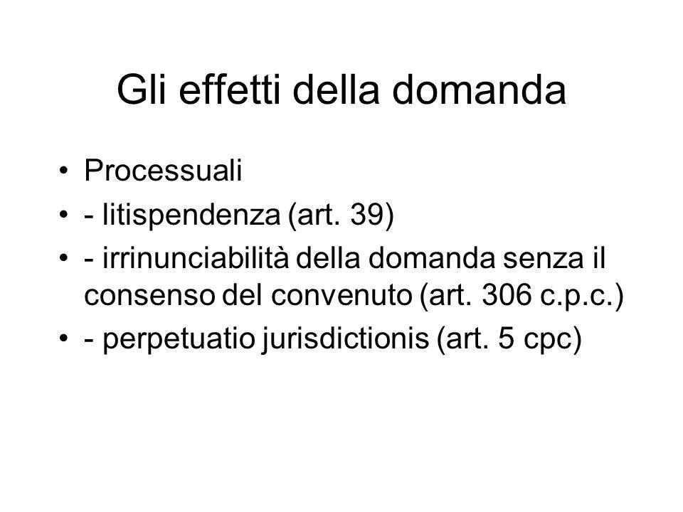 Gli effetti della domanda Processuali - litispendenza (art.