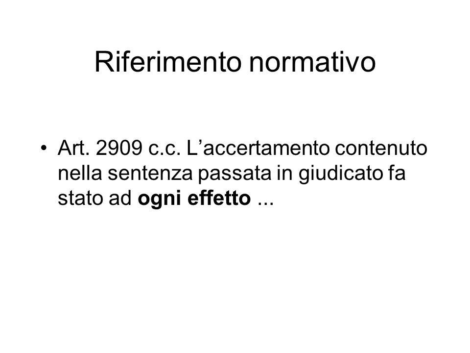 Riferimento normativo Art.2909 c.c.