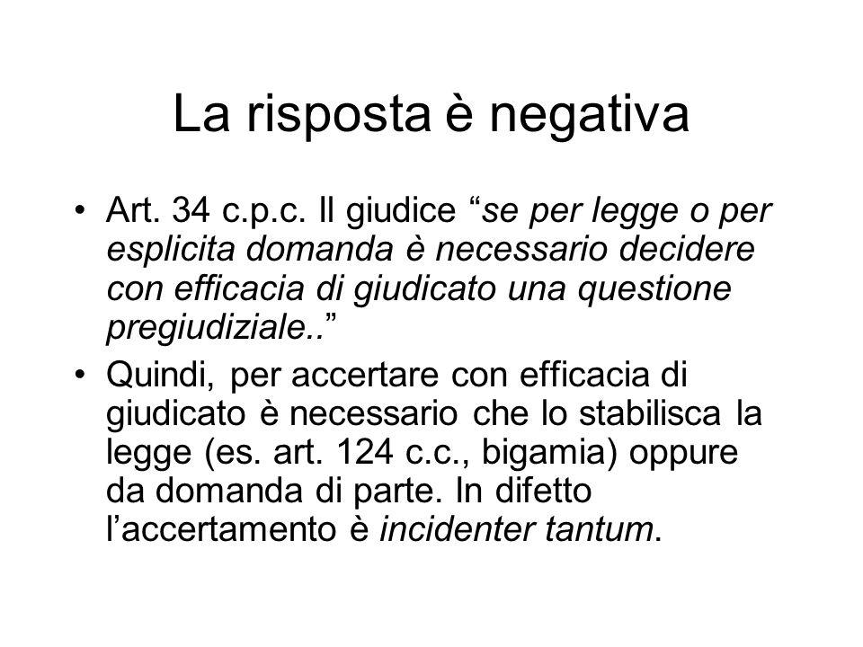 La risposta è negativa Art.34 c.p.c.
