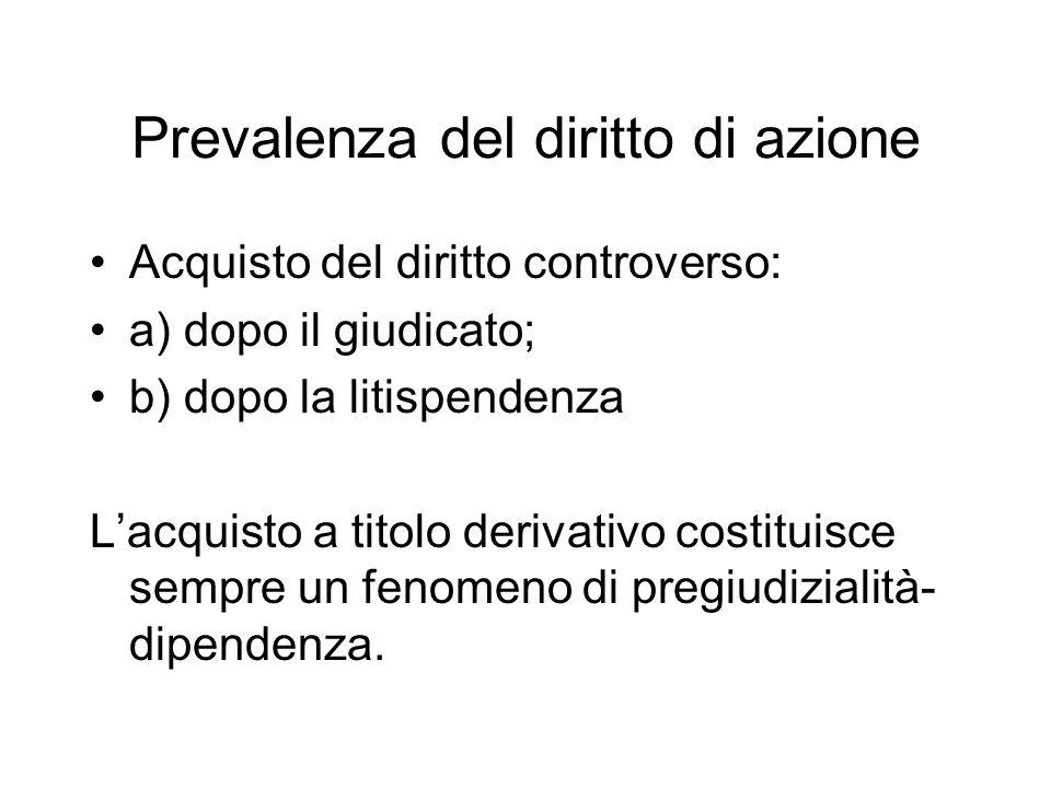 Prevalenza del diritto di azione Acquisto del diritto controverso: a) dopo il giudicato; b) dopo la litispendenza Lacquisto a titolo derivativo costituisce sempre un fenomeno di pregiudizialità- dipendenza.