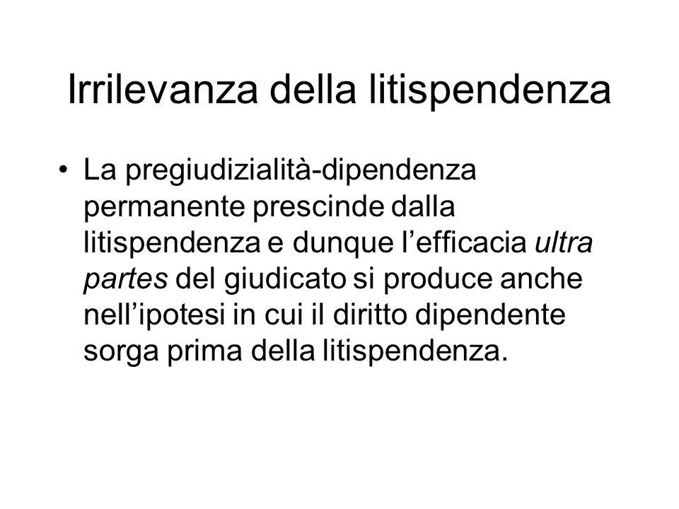Irrilevanza della litispendenza La pregiudizialità-dipendenza permanente prescinde dalla litispendenza e dunque lefficacia ultra partes del giudicato si produce anche nellipotesi in cui il diritto dipendente sorga prima della litispendenza.