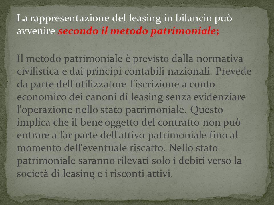 La rappresentazione del leasing in bilancio può avvenire secondo il metodo patrimoniale; Il metodo patrimoniale è previsto dalla normativa civilistica e dai principi contabili nazionali.