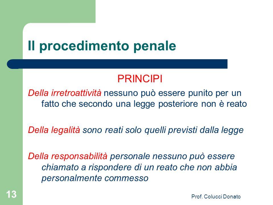 Il procedimento penale PRINCIPI Della irretroattività nessuno può essere punito per un fatto che secondo una legge posteriore non è reato Della legali