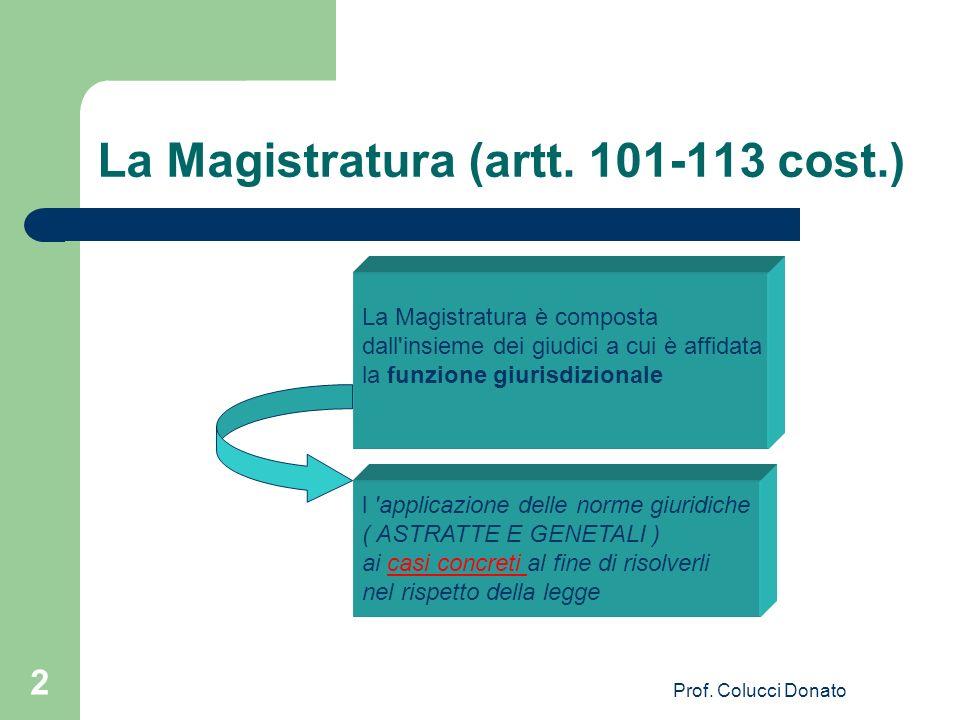 La Magistratura (artt. 101-113 cost.) La Magistratura è composta dall'insieme dei giudici a cui è affidata la funzione giurisdizionale l 'applicazione