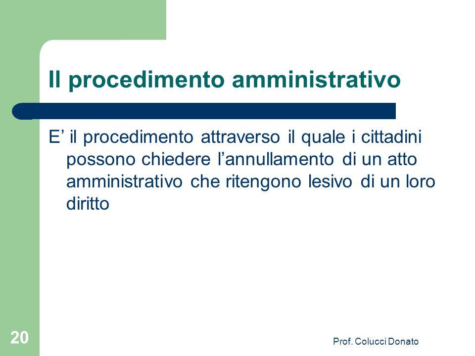 Il procedimento amministrativo E il procedimento attraverso il quale i cittadini possono chiedere lannullamento di un atto amministrativo che ritengon