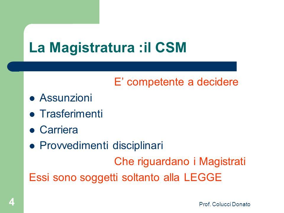La Magistratura :il CSM E competente a decidere Assunzioni Trasferimenti Carriera Provvedimenti disciplinari Che riguardano i Magistrati Essi sono sog