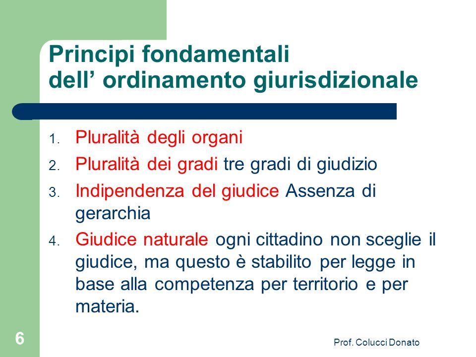 Principi fondamentali dell ordinamento giurisdizionale 1. Pluralità degli organi 2. Pluralità dei gradi tre gradi di giudizio 3. Indipendenza del giud