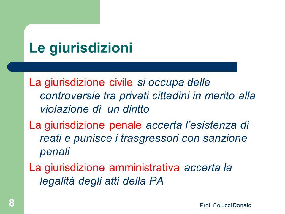 Le giurisdizioni La giurisdizione civile si occupa delle controversie tra privati cittadini in merito alla violazione di un diritto La giurisdizione p