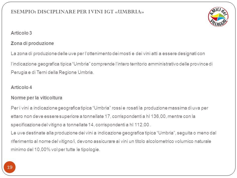 19 ESEMPIO: DISCIPLINARE PER I VINI IGT «UMBRIA» Articolo 3 Zona di produzione La zona di produzione delle uve per lottenimento dei mosti e dei vini a