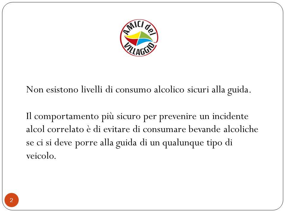 2 Non esistono livelli di consumo alcolico sicuri alla guida. Il comportamento più sicuro per prevenire un incidente alcol correlato è di evitare di c