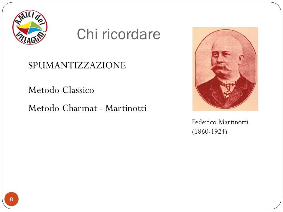8 Federico Martinotti (1860-1924) Metodo Charmat - Martinotti Metodo Classico SPUMANTIZZAZIONE Chi ricordare