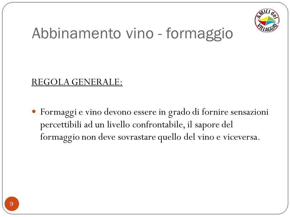 Abbinamento vino - formaggio 9 REGOLA GENERALE: Formaggi e vino devono essere in grado di fornire sensazioni percettibili ad un livello confrontabile,