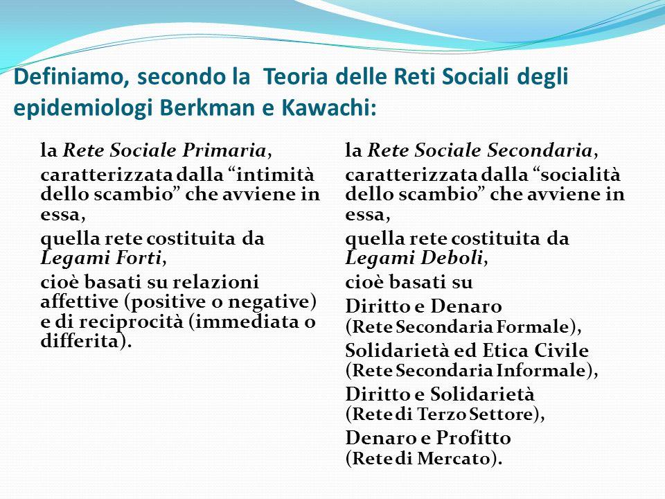Definiamo, secondo la Teoria delle Reti Sociali degli epidemiologi Berkman e Kawachi: la Rete Sociale Primaria, caratterizzata dalla intimità dello scambio che avviene in essa, quella rete costituita da Legami Forti, cioè basati su relazioni affettive (positive o negative) e di reciprocità (immediata o differita).