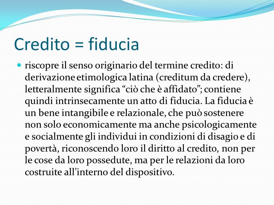 Credito = fiducia riscopre il senso originario del termine credito: di derivazione etimologica latina (creditum da credere), letteralmente significa ciò che è affidato; contiene quindi intrinsecamente un atto di fiducia.