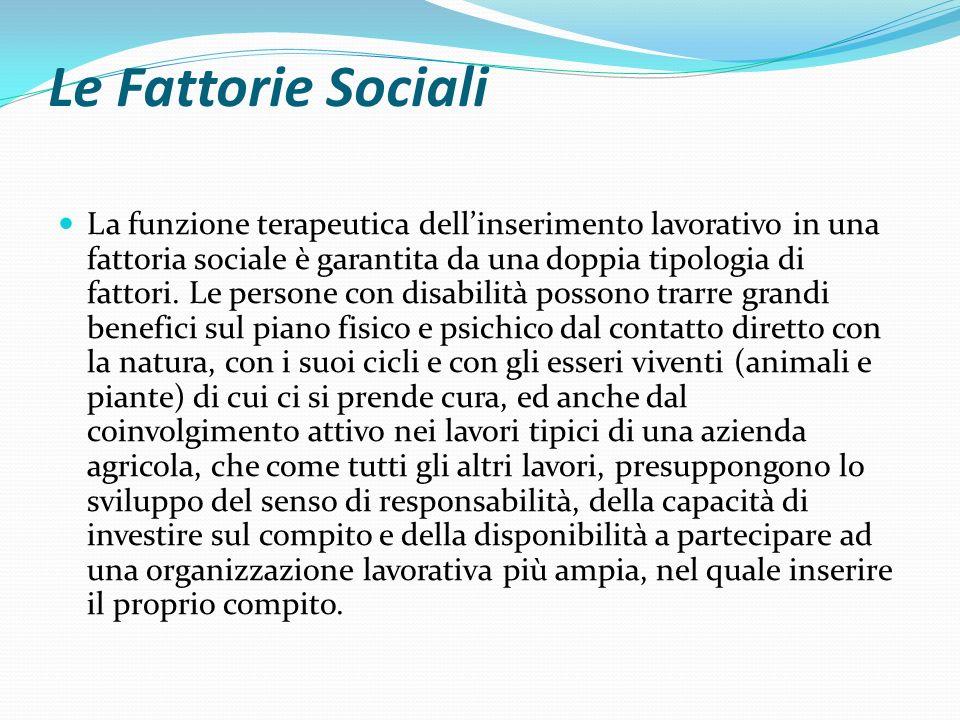 Le Fattorie Sociali La funzione terapeutica dellinserimento lavorativo in una fattoria sociale è garantita da una doppia tipologia di fattori.