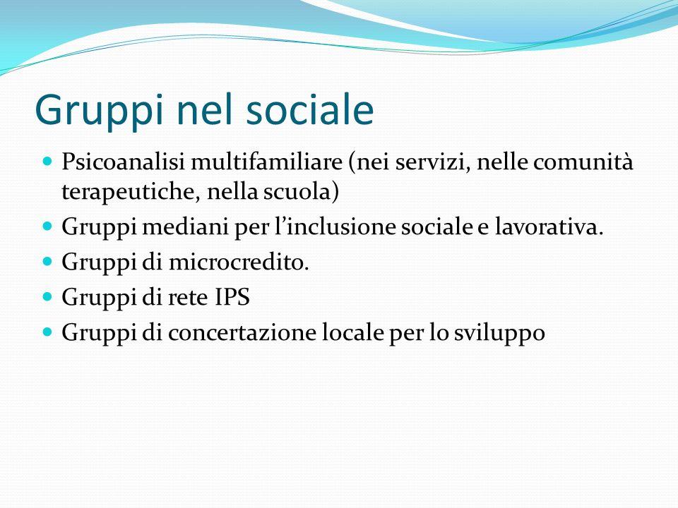Gruppi nel sociale Psicoanalisi multifamiliare (nei servizi, nelle comunità terapeutiche, nella scuola) Gruppi mediani per linclusione sociale e lavorativa.