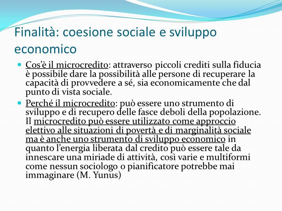 Finalità: coesione sociale e sviluppo economico Cosè il microcredito: attraverso piccoli crediti sulla fiducia è possibile dare la possibilità alle persone di recuperare la capacità di provvedere a sé, sia economicamente che dal punto di vista sociale.