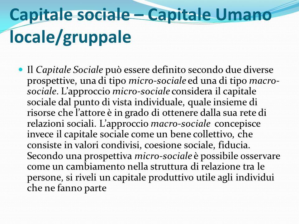 Capitale sociale – Capitale Umano locale/gruppale Il Capitale Sociale può essere definito secondo due diverse prospettive, una di tipo micro-sociale ed una di tipo macro- sociale.
