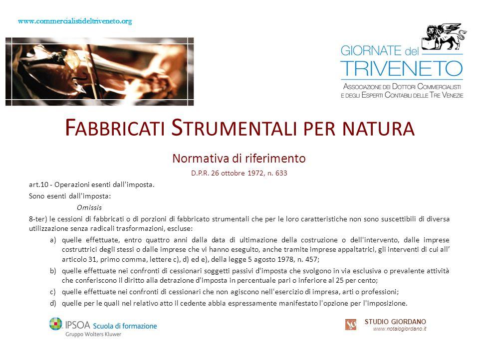 www.commercialistideltriveneto.org STUDIO GIORDANO www.notaiogiordano.it F ABBRICATI S TRUMENTALI PER NATURA Normativa di riferimento D.P.R.