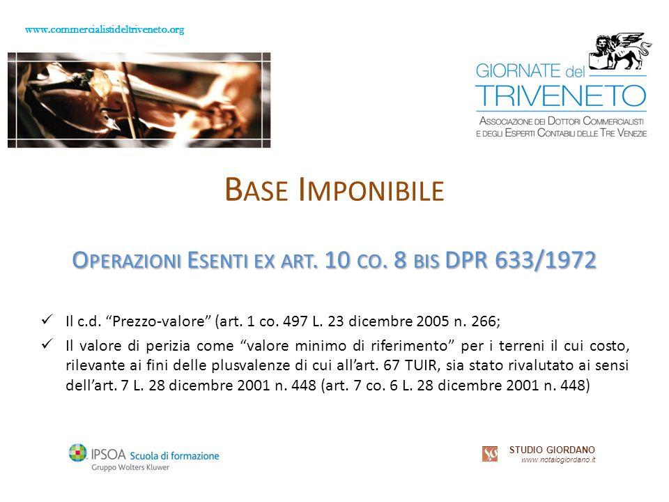 www.commercialistideltriveneto.org STUDIO GIORDANO www.notaiogiordano.it B ASE I MPONIBILE O PERAZIONI E SENTI EX ART.
