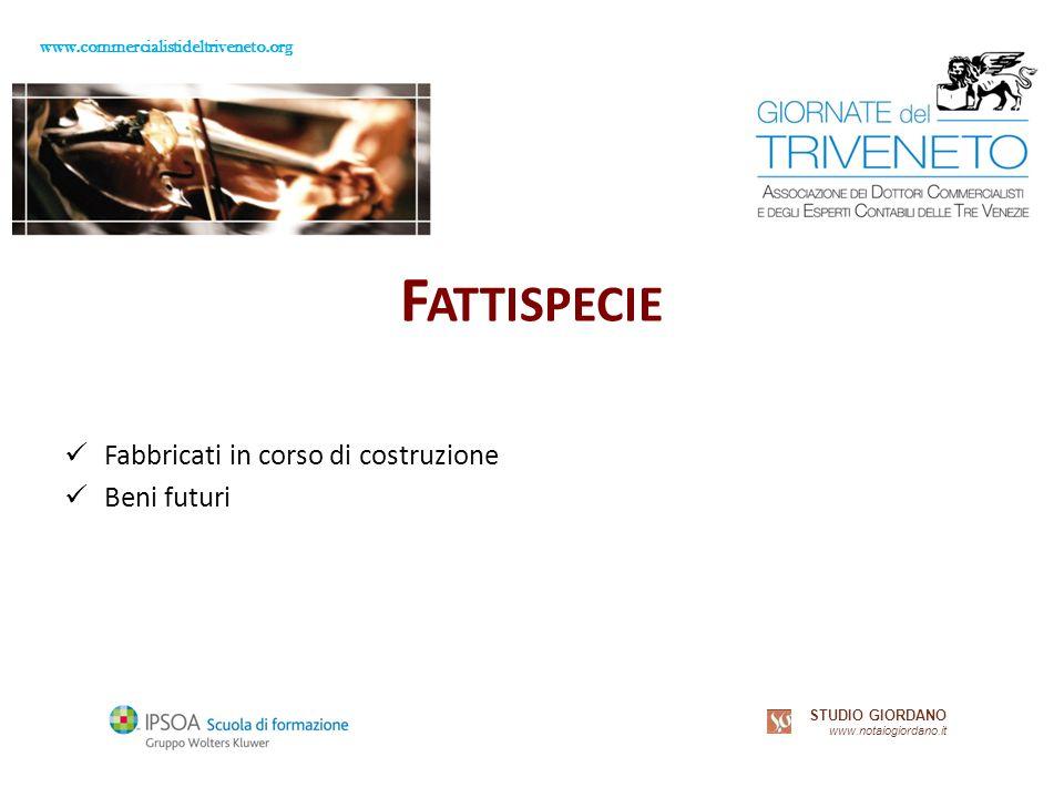 www.commercialistideltriveneto.org STUDIO GIORDANO www.notaiogiordano.it F ATTISPECIE Fabbricati in corso di costruzione Beni futuri