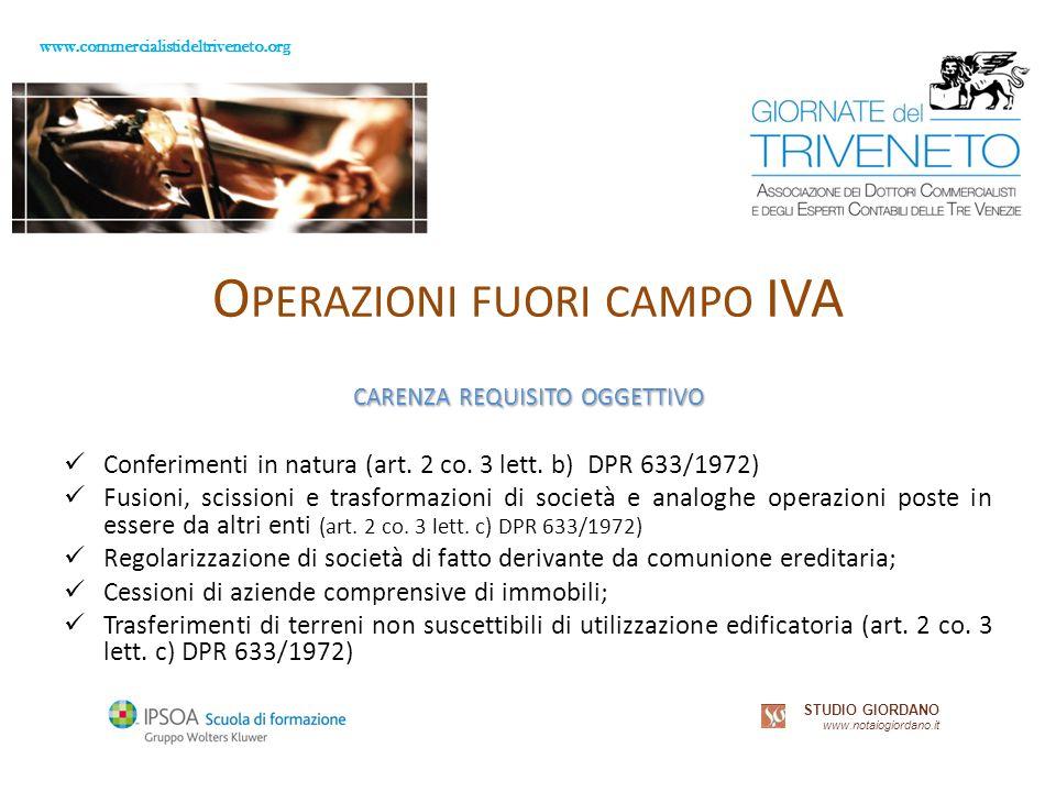 www.commercialistideltriveneto.org STUDIO GIORDANO www.notaiogiordano.it O PERAZIONI FUORI CAMPO IVA CARENZA REQUISITO OGGETTIVO Conferimenti in natura (art.