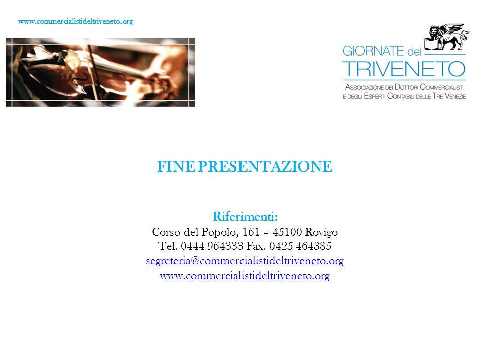 FINE PRESENTAZIONE Riferimenti: Corso del Popolo, 161 – 45100 Rovigo Tel.