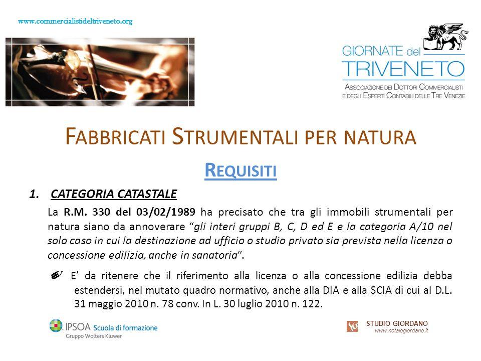 www.commercialistideltriveneto.org STUDIO GIORDANO www.notaiogiordano.it F ABBRICATI S TRUMENTALI PER NATURA R EQUISITI 1.