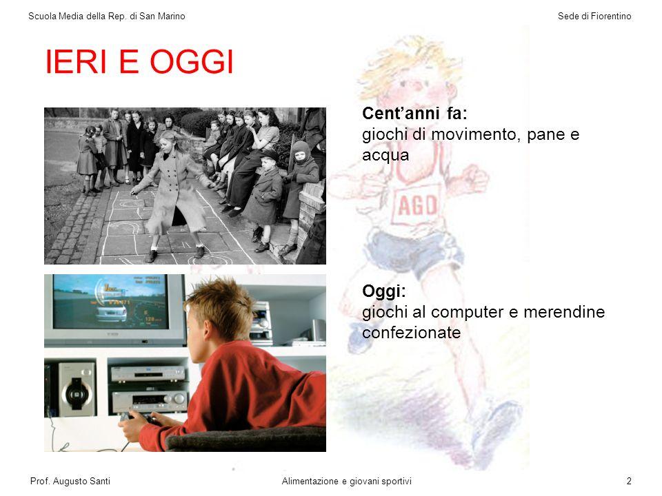 IERI E OGGI Centanni fa: giochi di movimento, pane e acqua Oggi: giochi al computer e merendine confezionate Scuola Media della Rep.