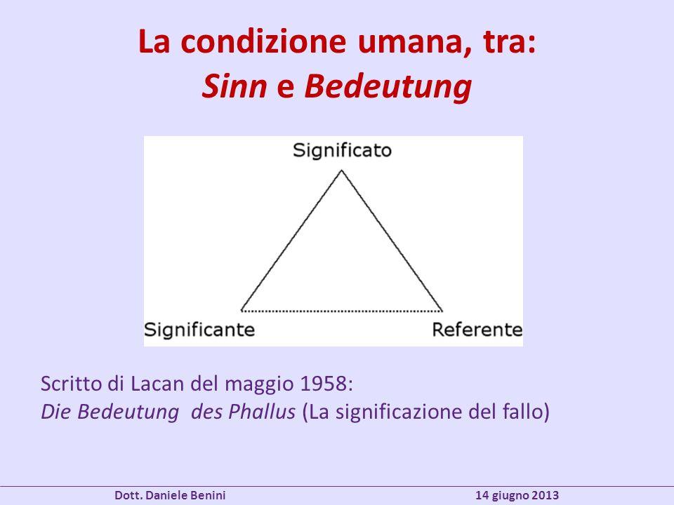 La condizione umana, tra: Sinn e Bedeutung Scritto di Lacan del maggio 1958: Die Bedeutung des Phallus (La significazione del fallo) Dott. Daniele Ben