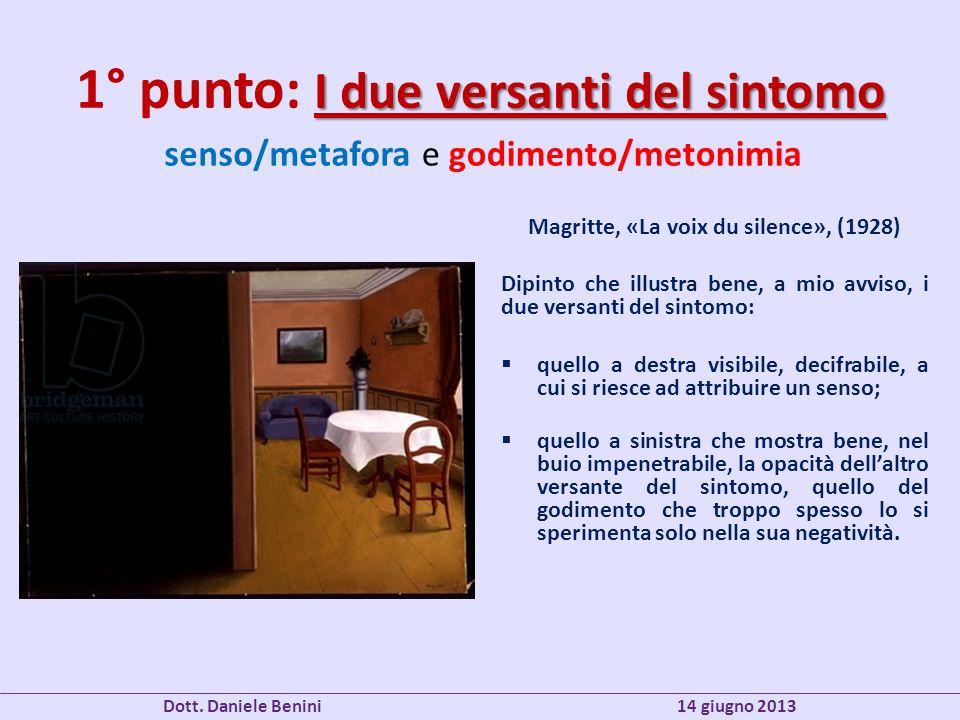 I due versanti del sintomo 1° punto: I due versanti del sintomo Magritte, «La voix du silence», (1928) Dipinto che illustra bene, a mio avviso, i due versanti del sintomo: quello a destra visibile, decifrabile, a cui si riesce ad attribuire un senso; quello a sinistra che mostra bene, nel buio impenetrabile, la opacità dellaltro versante del sintomo, quello del godimento che troppo spesso lo si sperimenta solo nella sua negatività.