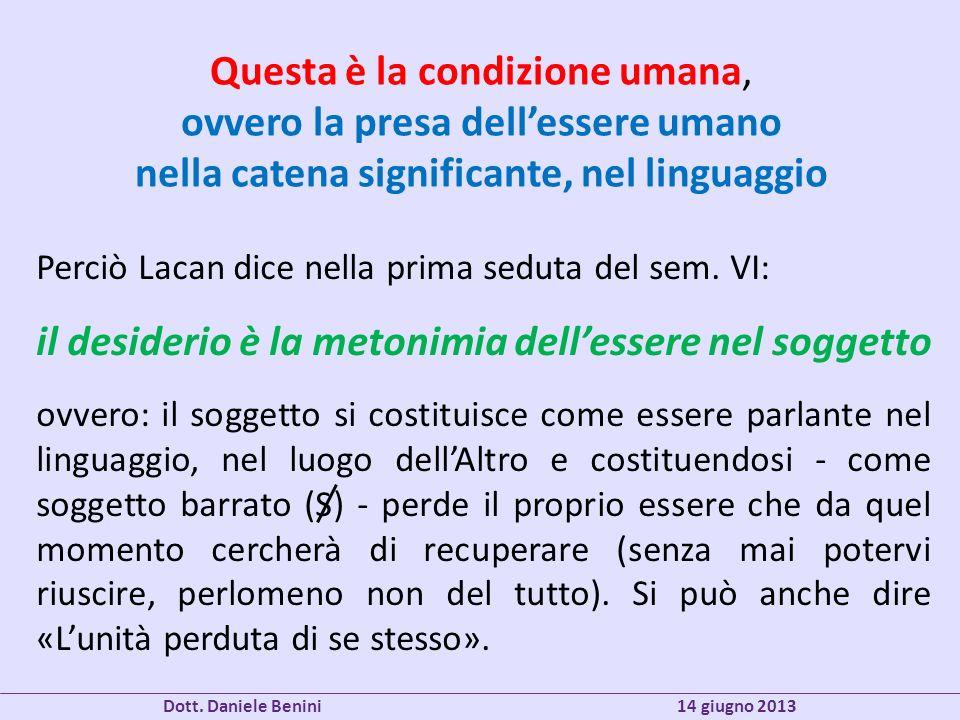 Questa è la condizione umana, ovvero la presa dellessere umano nella catena significante, nel linguaggio Perciò Lacan dice nella prima seduta del sem.