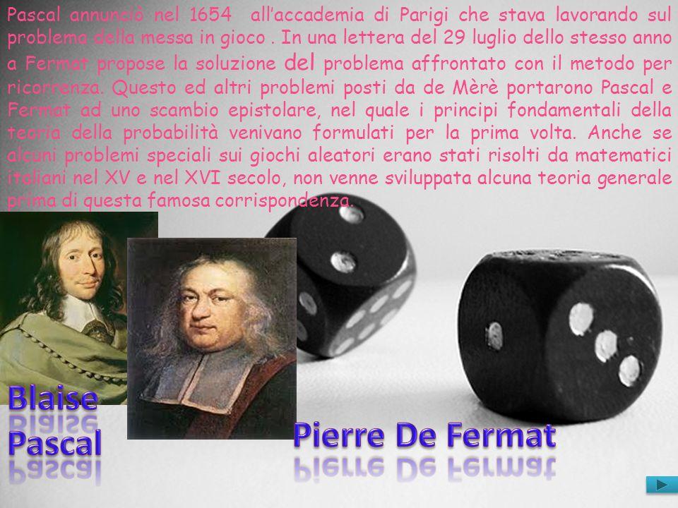 Pascal annunciò nel 1654 allaccademia di Parigi che stava lavorando sul problema della messa in gioco. In una lettera del 29 luglio dello stesso anno