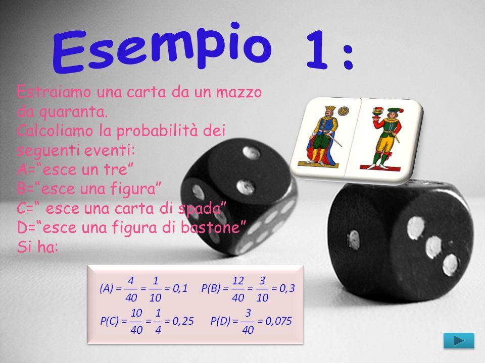 Estraiamo una carta da un mazzo da quaranta. Calcoliamo la probabilità dei seguenti eventi: A=esce un tre B=esce una figura C= esce una carta di spada