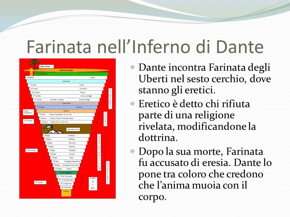 Farinata nellInferno di Dante Dante incontra Farinata degli Uberti nel sesto cerchio, dove stanno gli eretici. Eretico è detto chi rifiuta parte di un