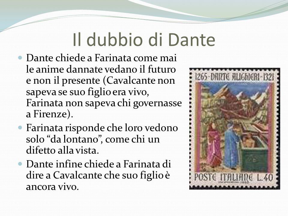 Il dubbio di Dante Dante chiede a Farinata come mai le anime dannate vedano il futuro e non il presente (Cavalcante non sapeva se suo figlio era vivo,
