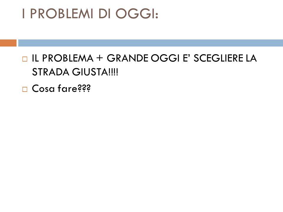 I PROBLEMI DI OGGI: IL PROBLEMA + GRANDE OGGI E SCEGLIERE LA STRADA GIUSTA!!!! Cosa fare???