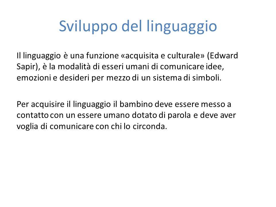 Sviluppo del linguaggio Il linguaggio è una funzione «acquisita e culturale» (Edward Sapir), è la modalità di esseri umani di comunicare idee, emozion