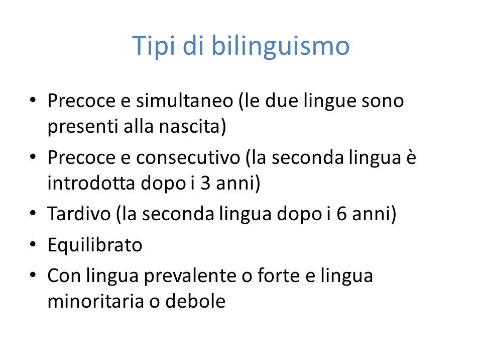 Tipi di bilinguismo Precoce e simultaneo (le due lingue sono presenti alla nascita) Precoce e consecutivo (la seconda lingua è introdotta dopo i 3 ann