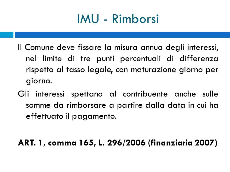 IMU - Rimborsi Il Comune deve fissare la misura annua degli interessi, nel limite di tre punti percentuali di differenza rispetto al tasso legale, con