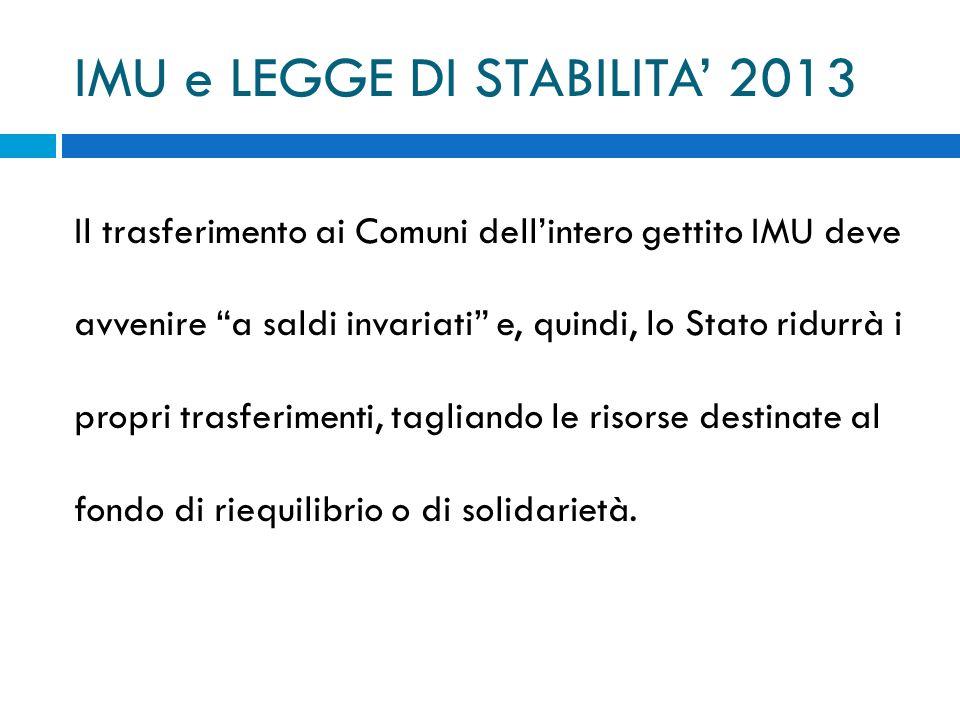 IMU e LEGGE DI STABILITA 2013 Il trasferimento ai Comuni dellintero gettito IMU deve avvenire a saldi invariati e, quindi, lo Stato ridurrà i propri t
