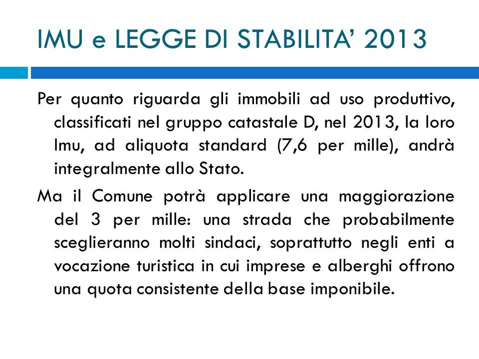 IMU e LEGGE DI STABILITA 2013 Per quanto riguarda gli immobili ad uso produttivo, classificati nel gruppo catastale D, nel 2013, la loro Imu, ad aliqu