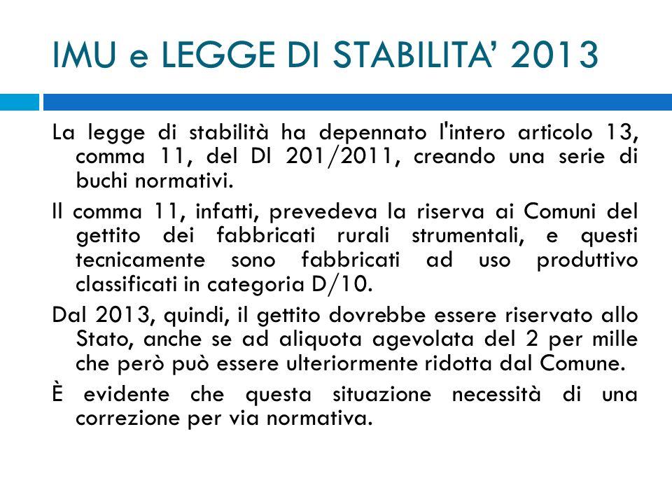 IMU e LEGGE DI STABILITA 2013 La legge di stabilità ha depennato l'intero articolo 13, comma 11, del Dl 201/2011, creando una serie di buchi normativi