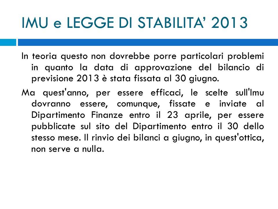 IMU e LEGGE DI STABILITA 2013 In teoria questo non dovrebbe porre particolari problemi in quanto la data di approvazione del bilancio di previsione 20