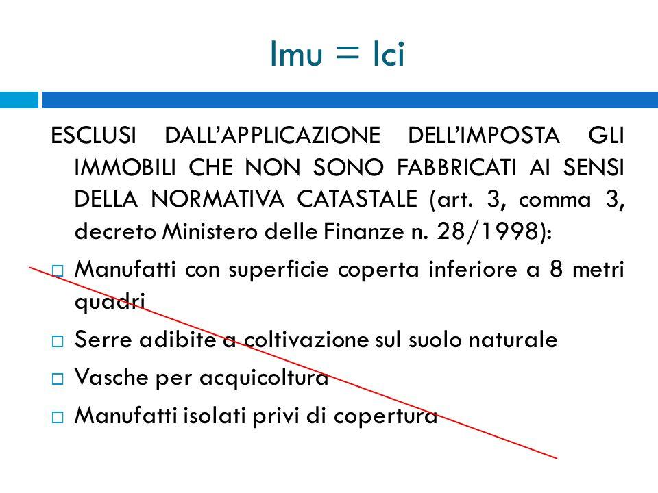 Imu = Ici ESCLUSI DALLAPPLICAZIONE DELLIMPOSTA GLI IMMOBILI CHE NON SONO FABBRICATI AI SENSI DELLA NORMATIVA CATASTALE (art. 3, comma 3, decreto Minis