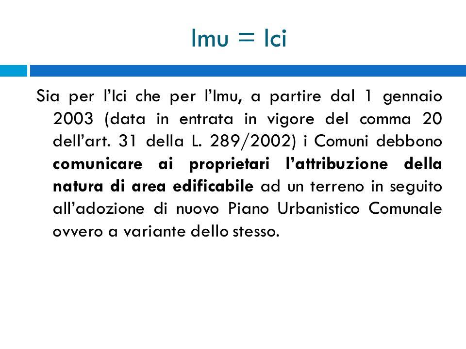 Imu = Ici Sia per lIci che per lImu, a partire dal 1 gennaio 2003 (data in entrata in vigore del comma 20 dellart. 31 della L. 289/2002) i Comuni debb